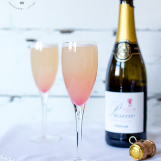 A delicious Rhubarb and orange bellini. A perfect cocktail for summer evenings.