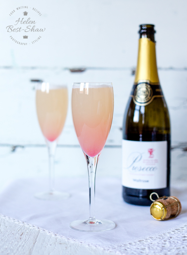 A delicious rhubarb and orange Bellini. A perfect cocktail for summer evenings | Fuss Free Flavours