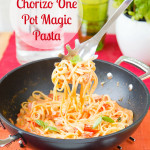 Creamy chorizo & goat's cheese one pot magic pasta