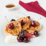 Cream Cheese Fritters, English Summer Delicious, easy to make pancakes made with cream and cottage cheese and served with cherries and maple syrup are perfect for a weekend brunch.