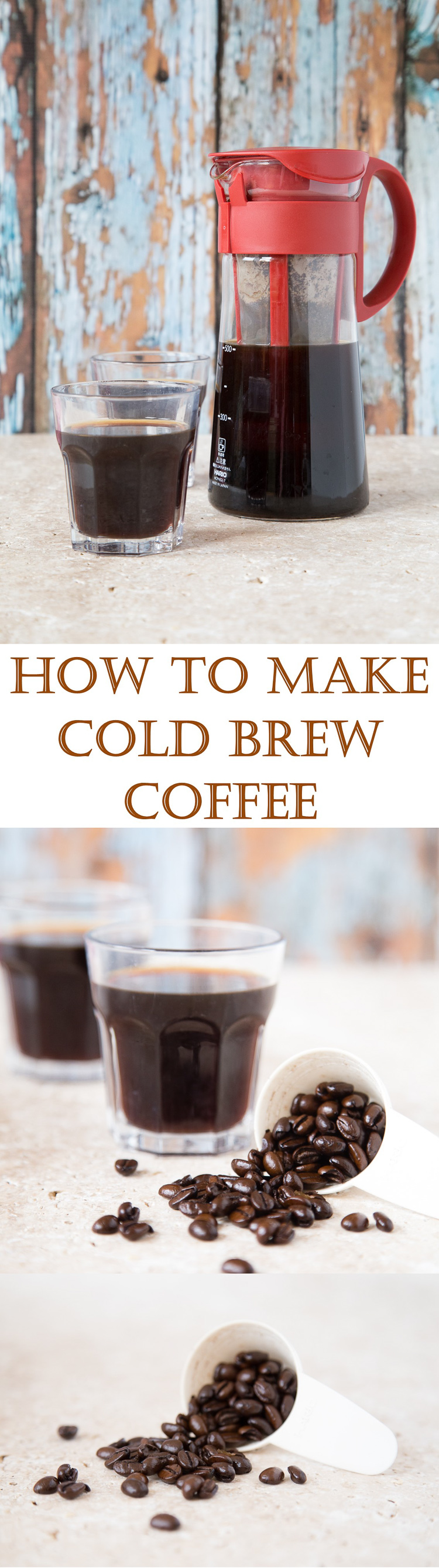 This easy to make cold brew coffee is the perfect base for making lots of delicious drinks and treats, like iced coffee, frappucinos, ice cream and sorbet. Learn how to make the perfect cold brew coffee with this simple method | Fuss Free Flavours