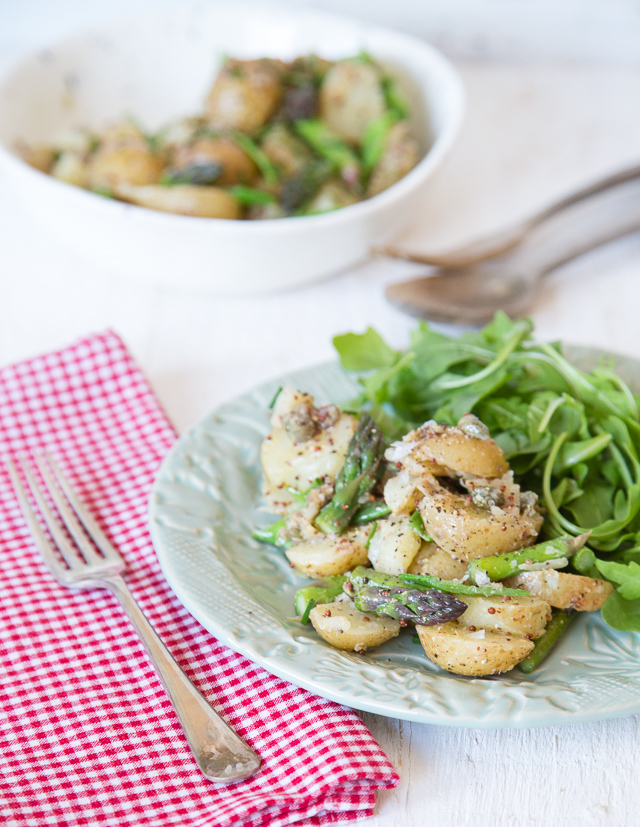 An easy vegetarian recipe for a potato salad with asparagus & mangetout with a zesty caper and mustard dressing.
