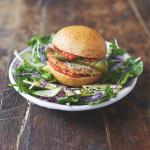 Jamie Oliver's Mega Veggie Burgers with a garden salad and basil dressing