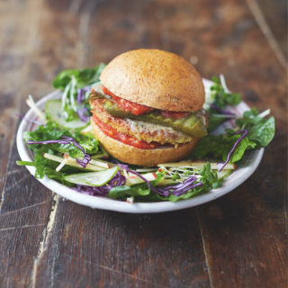 Jamie Oliver's Mega Veggie Burgers with a garden salad and basil dressing