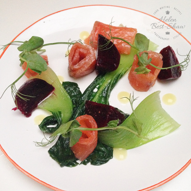 smoked salmon, pak choi and beetroot at Bistro by Shot