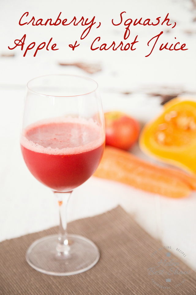 This jewel coloured juice showcases fall fruit and vegetables and with the addition of cranberries is perfect for Thanksgiving