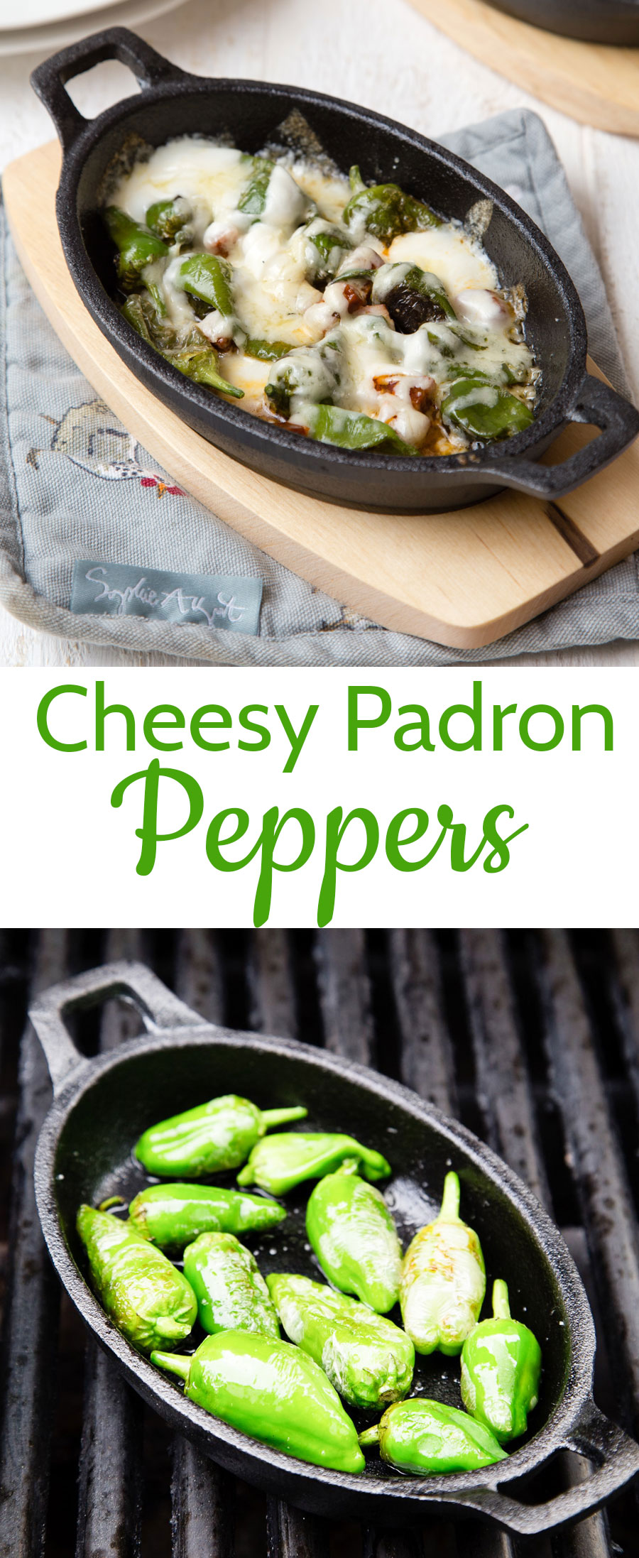 Melt in the mouth Padron peppers coated in melted cheese are so delicious and perfect for parties as an easy appetiser. Cook on the BBQ or on the stovetop.