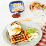 Crispy waffles made wtih leftover mashed potato and SPAM. Delicious for brunch or lunch