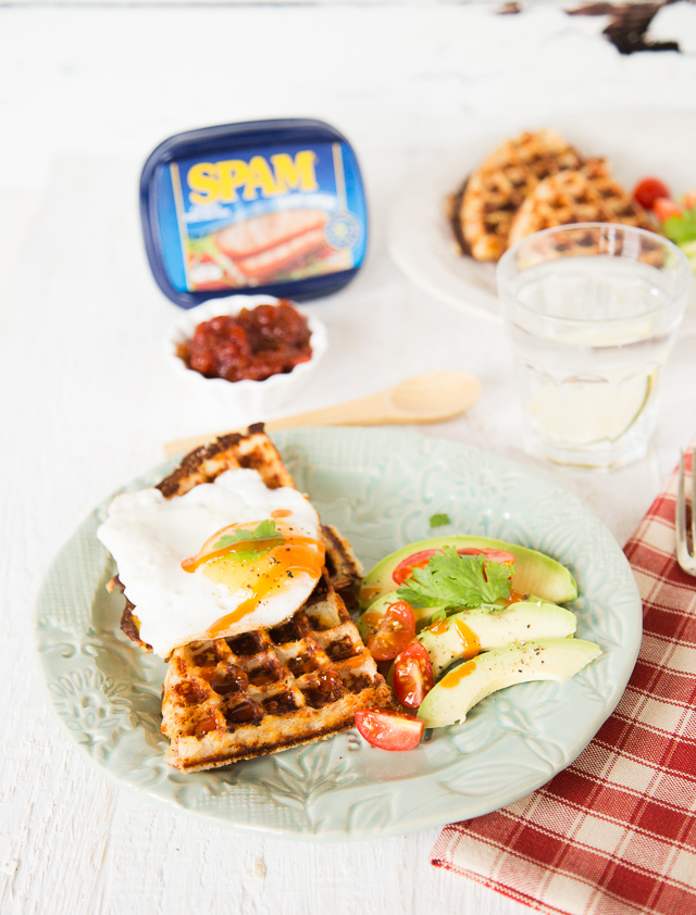 Crispy waffles made with leftover mashed potato and SPAM. Delicious for brunch or lunch