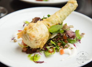 Stuffed courgette flower at The Gate, Hammersmith, London