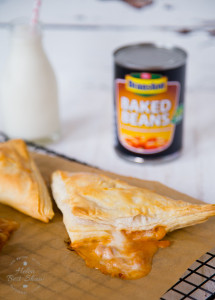 Quick and easy to make these cheese and baked bean pasty puffs make a quick snack suitable for all the family.