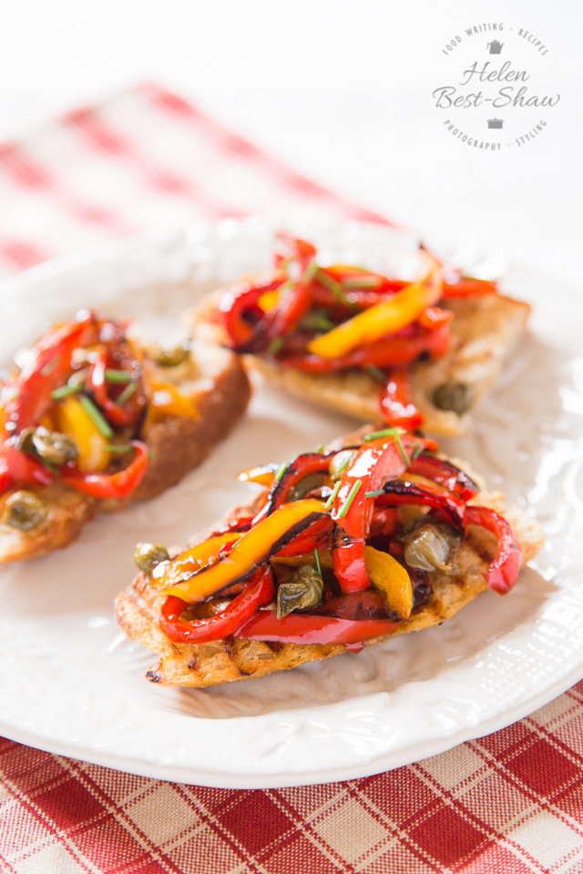 This 5 ingredient pepper and caper salad is delicious, easy to make and adaptable and makes a perfect bruschetta topping