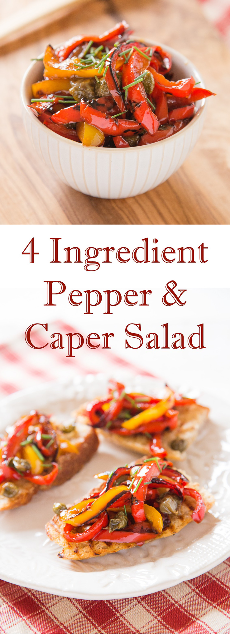 This 4 ingredient pepper and caper salad is delicious, easy to make and adaptable and makes a delicious bruschetta topping