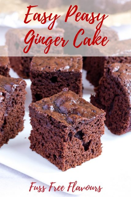 Sqaures of brown moist ginger cake