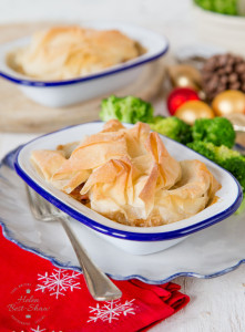 An easy recipe to use up leftover Christmas or Thanksgiving Turkey. Topped with a single sheet of foil pastry for texture these pies are lighter than a traditional pastry covered pie.