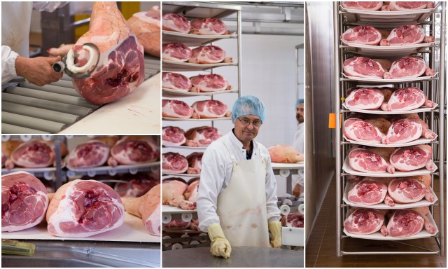 The story behind Prosciutto di San Daniele - receiving the ham in the factory