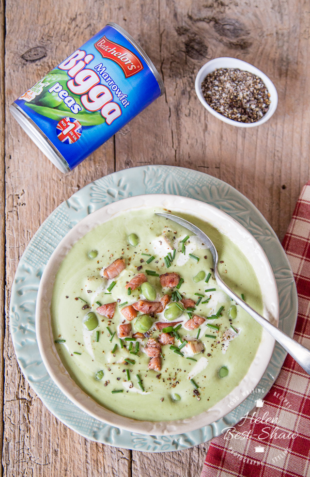 An easy, comforting indulgent recipe for a creamed pea soup - using store cupboard tinned peas