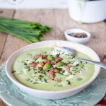 An easy, comforting indulgent recipe for a creamed pea soup - using store cupboard peas