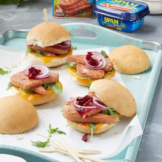 Delicious mini burgers filled with SPAM, cheese and a garnish