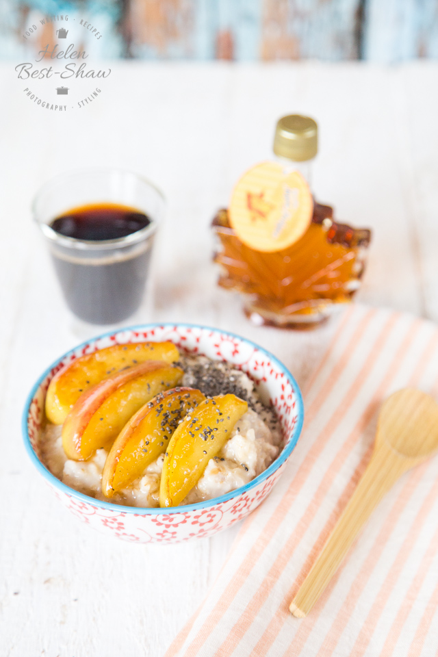 A warming breakfast of coconut and maple apple oatmeal (or porridge) with a dash of cinnamon