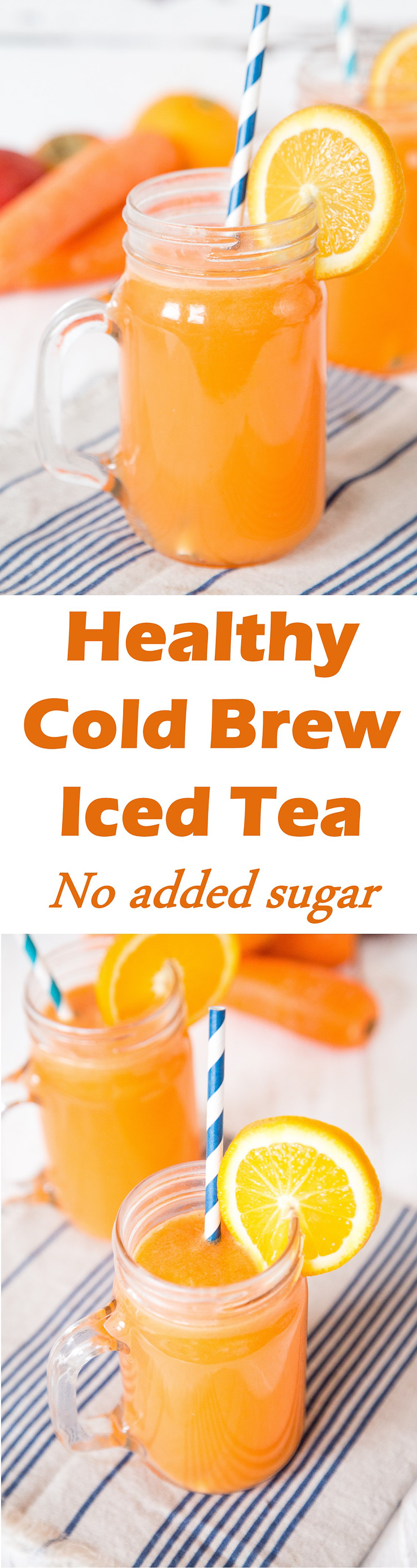 This healthy iced green tea contains no added sugar and counts as one portion of fruit and vegetables. Delicious and refreshing