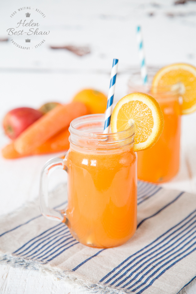This healthy iced green tea contains no added sugar and counts as one portion of fruit and vegetables as it is packed with carrot and fruit juice. Delicious and refreshing.