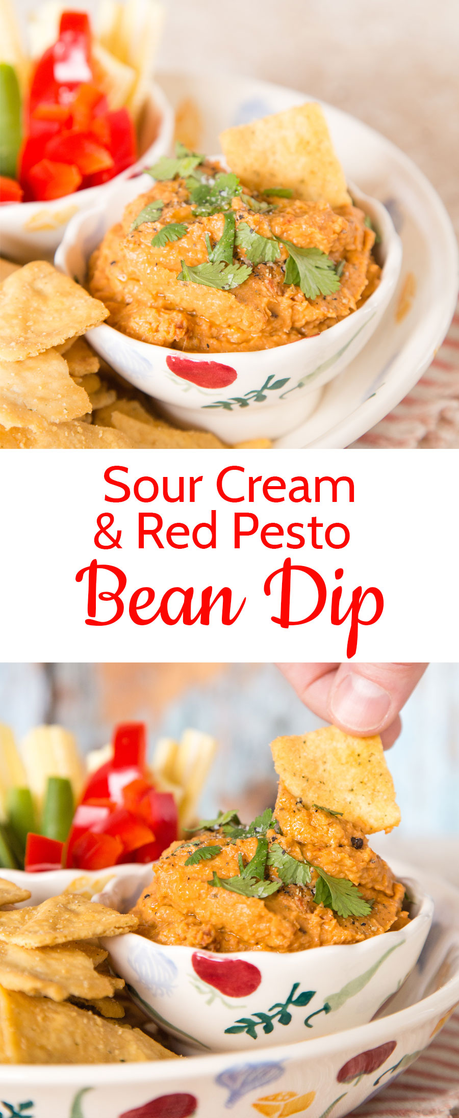 An easy to make dip, made with canned beans, pesto, sun dried tomatoes and soured cream. The perfect appetiser for a Mediterranean style meal.