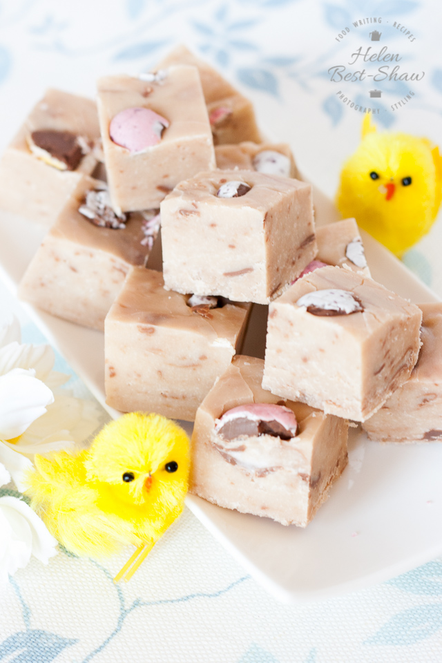 A creamy, dreamy Cadbury Creme Egg Fudge. So easy to make with only 4 other ingredients!