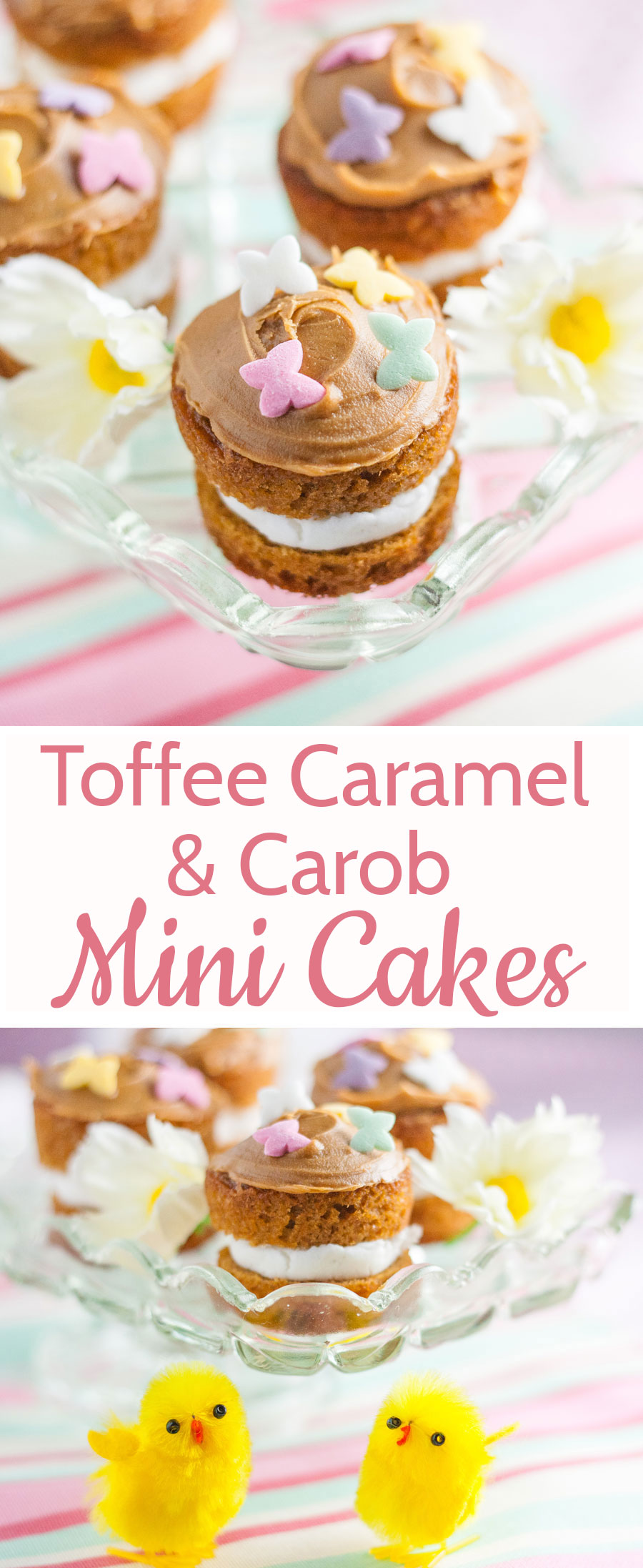 These adorable mini toffee caramel flavoured cakes are perfect for Spring!