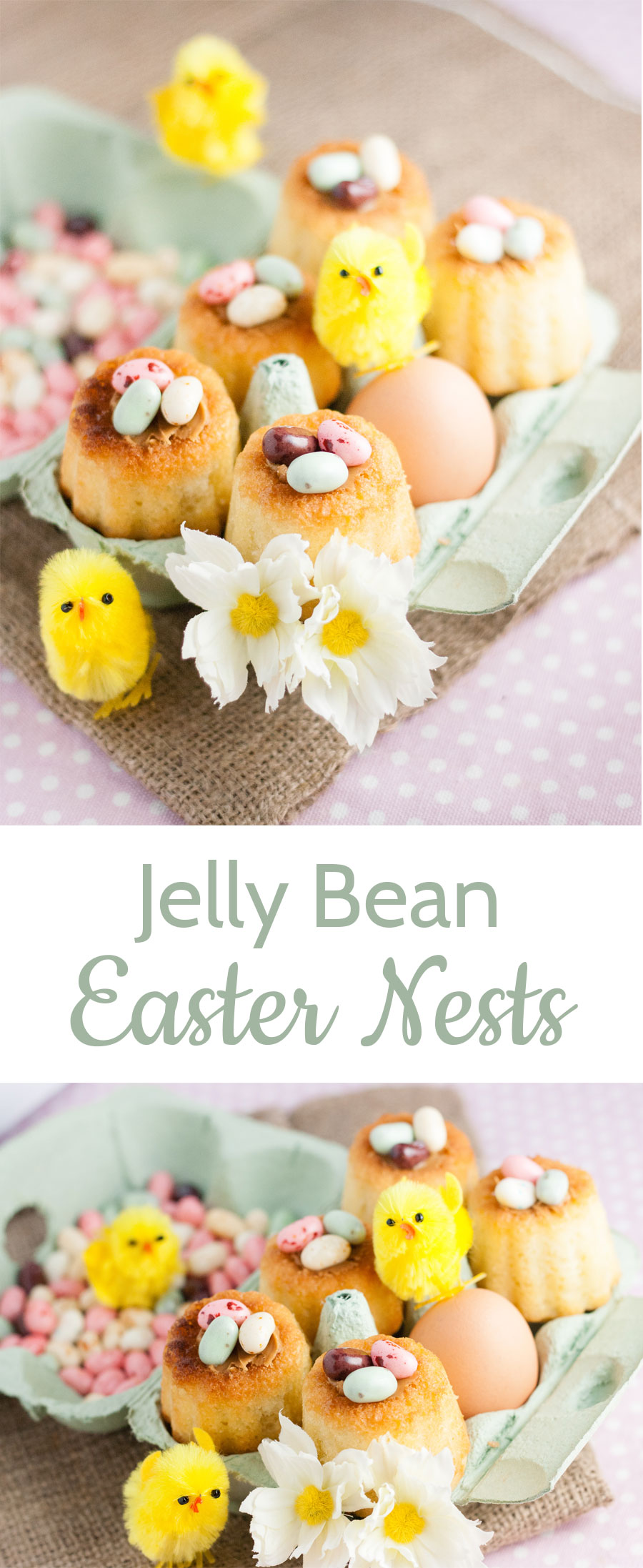 These cute jelly bean Easter nests are easy to make with a canelle mould and Madeleine batter