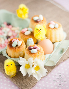 These jelly bean Easter nests are easy to make with a canelle mould and Madeleine batter