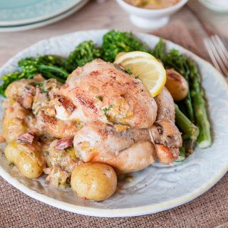 One Pot Poussin with Spring Vegetables
