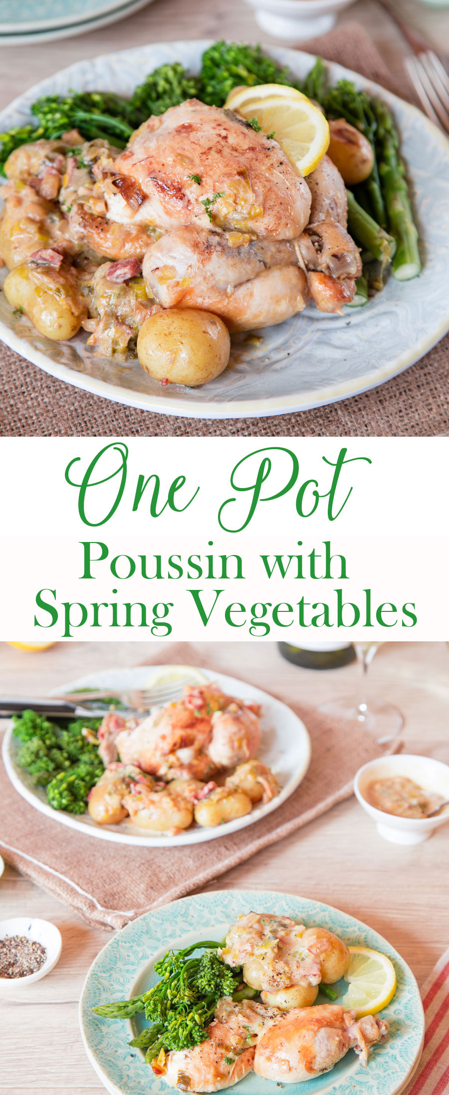 An easy recipe for a one pot poussin cooked with spring vegetables and served in a creamy sauce
