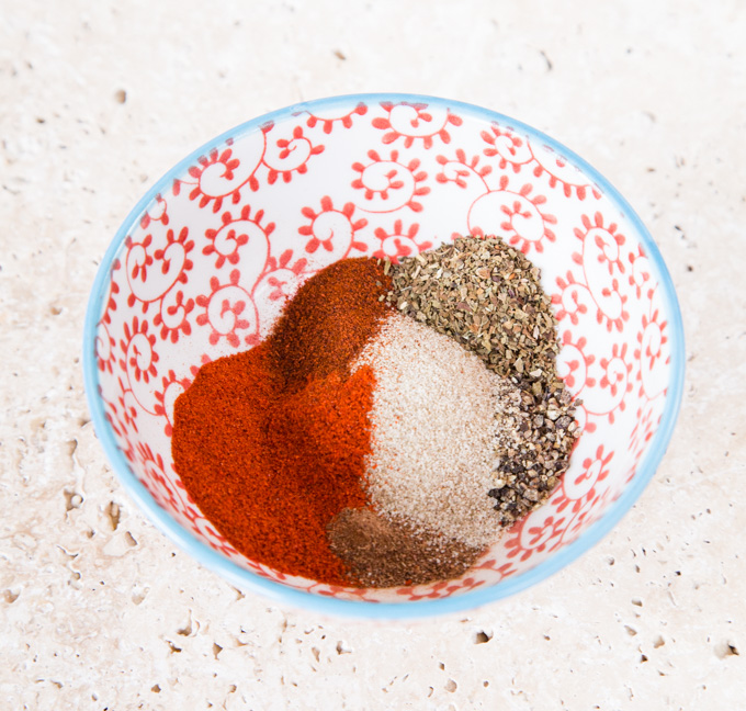 A bowl of spices used to make a southern spice mix