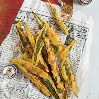 Spicy, crispy fried okra and so moreish. Recipe from Summers Under the Tamarind Tree