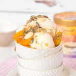 A delicate floral grown up apricot ice cream sundae, flavoured with lavender, topped with crunchy toasted sprinkles