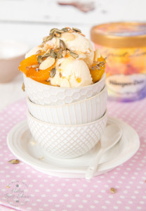 A delicate floral grown up apricot ice cream sundae, flavoured with lavender
