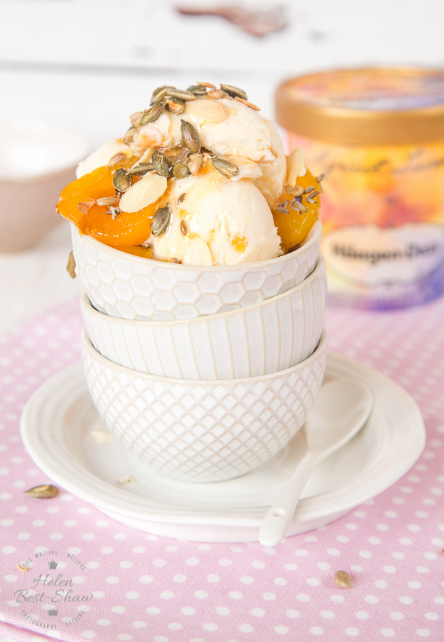 A delicate floral grown up apricot ice cream sundae, flavoured with lavender, topped with crunchy toasted seeds