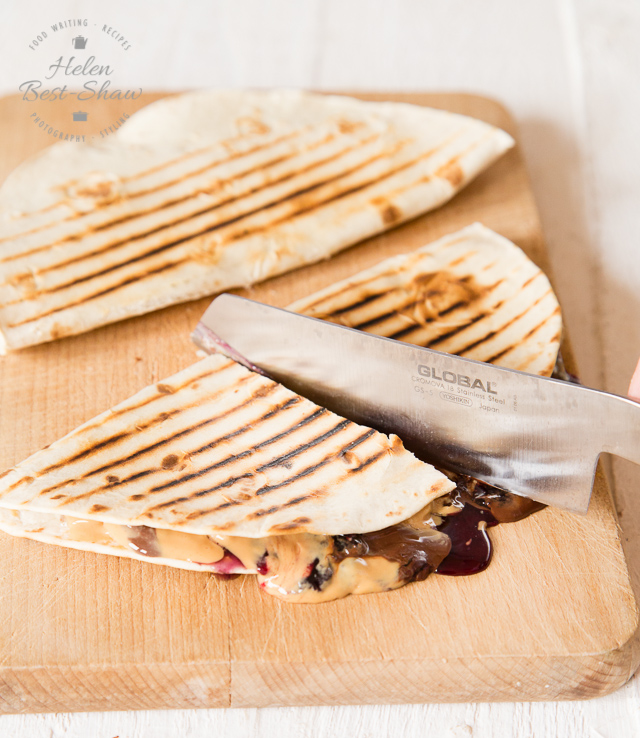 These vegan peanut butter, jelly, chocolate and banana quesadillas are a delicious, and easy to make treat
