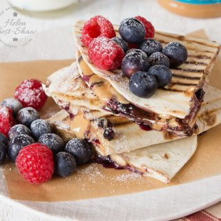 Peanut butter Quesadillas with Jelly, Chocolate and Bananas