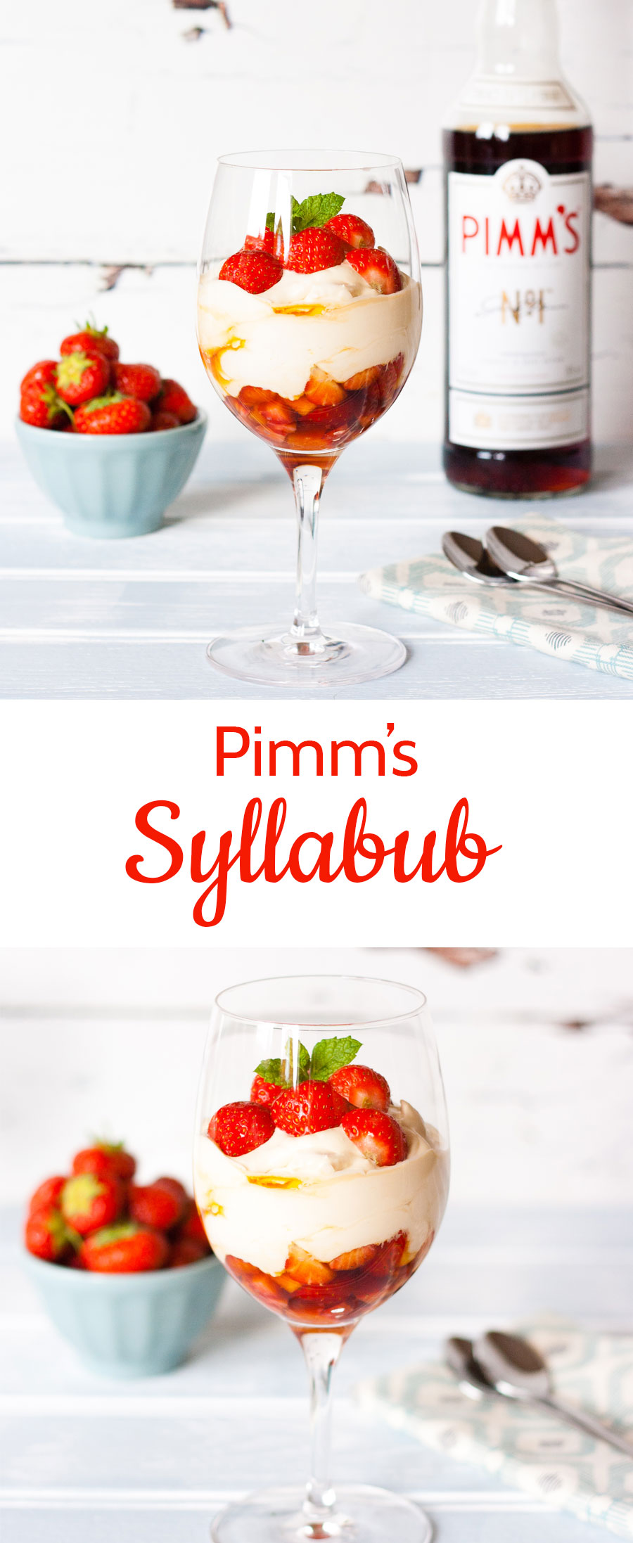 A glass of Pimm's and lemonade epitomises the English countryside. As well as being delicious in drinks try using Pimm's in a dessert - like this quick and easy boozy Pimm's & strawberry syllabub