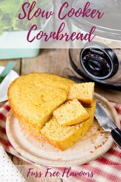 Go oven-less with this delicious slow cooker cornbread. A quick and easy recipe that cooks in your crock pot or slow cooker and is egg free.