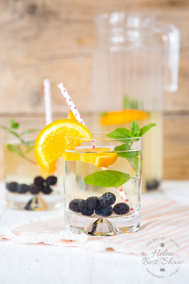 Cold brew tea is a refreshing and less bitter take on iced tea, with no need for added sugar. This thirst quenching version is made with green tea, flavoured with orange, blueberries and mint