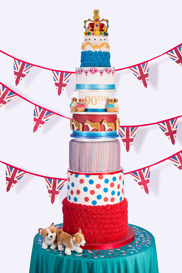 A very British 9 tier cake to mark the Queen's birthday.