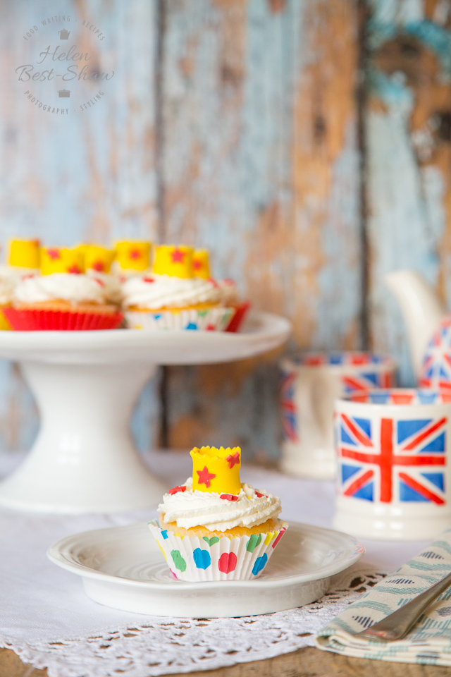 These cupcakes; fit for the Queen, are covered with elderflower cream and a simple sugarpaste crown.