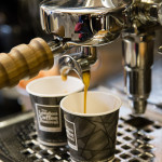 Espresso pouring at the London Coffee Festival