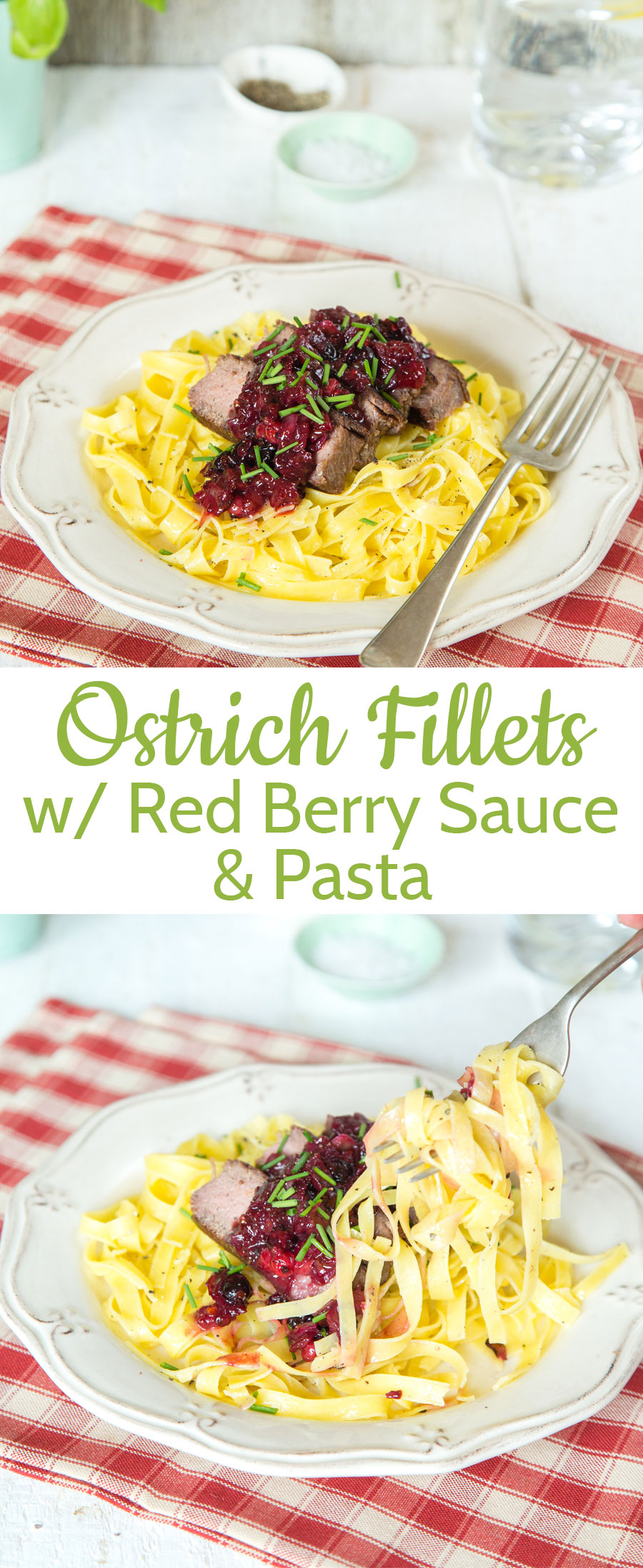 Fresh pasta tossed in butter topped with ostrich fillets and a red wine & berry sauce.  Perfect for a dinner party, but quick enough for a mid week supper.