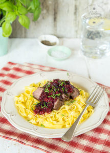 Fresh pasta tossed in butter topped with ostrich steaks and a red wine red berry sauce. Perfect for a dinner party, but quick enough for a mid week supper.