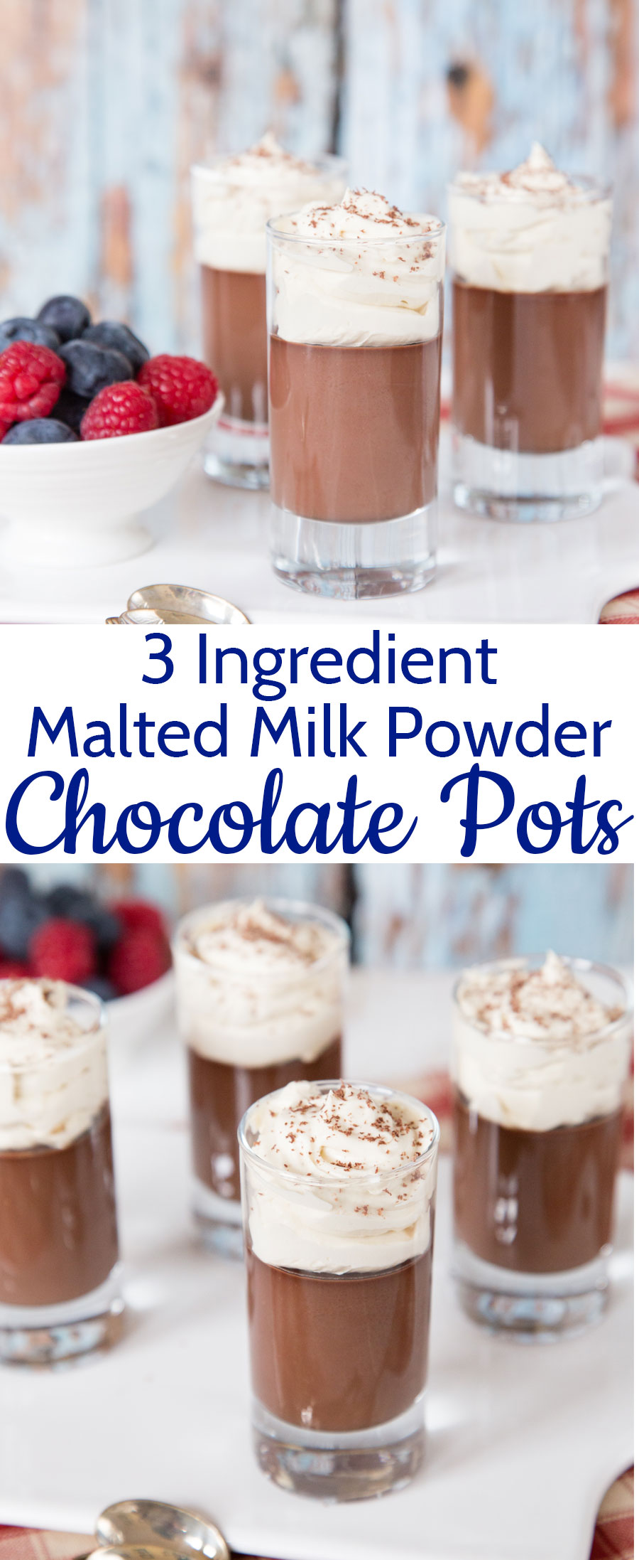 These malted milk powder chocolate pots are decadent, but easy to make dessert with only three ingredients.