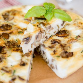 A savoury, vegetarian frittata made with economical, adaptable and tasty mushrooms and goat cheese